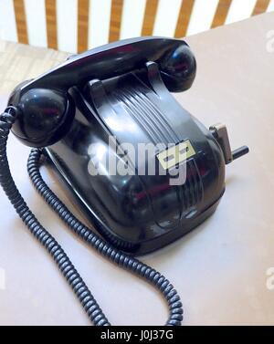 Old telephone closeup in Taiwan - Stock Photo