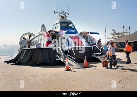 Hovercraft from the Isle of Wight arrives at the travel terminal on seafront, Southsea, Hampshire, UK - Stock Photo