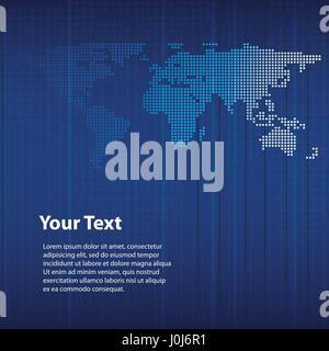 Blue Abstract Background Design with World Map in Editable Vector Format - Stock Photo