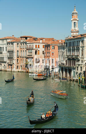 Spring afternoon on Grand Canal in Venice, Italy. - Stock Photo