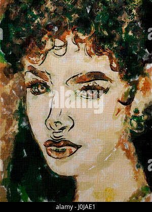 Art colorful painting beautiful retro girl face with short wavy hair - Stock Photo