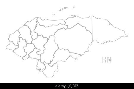 Honduras outline silhouette map illustration with departments - Stock Photo