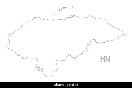 Honduras outline silhouette map illustration - Stock Photo