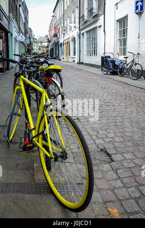 Student bikes parked in Green Street in Central Cambridge, UK. - Stock Photo