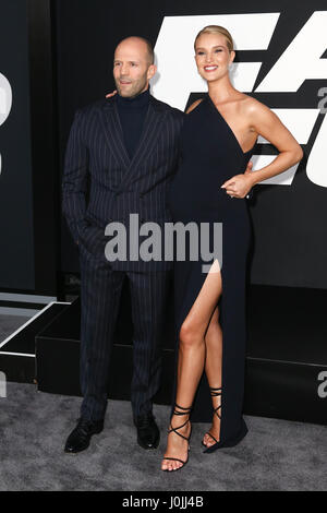 Jason Statham and Rosie Huntington-Whiteley attend 'The Fate of the Furious' premiere at Radio City Music Hall on - Stock Photo