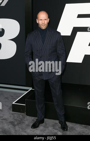 Jason Statham attends the world premiere of 'The Fate of the Furious' at Radio City Music Hall on April 8, 2017 - Stock Photo