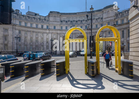The impressive anti-terror barriers situated outside of Admiralty Arch on The Mall near Trafalgar Square in central - Stock Photo