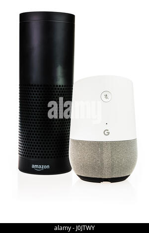 Google Home and Amazon Echo smart speakers.  Both offer voice activated personal assistants, music playing and home automation control. (white background)