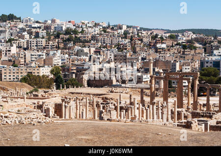 The ruins of the city of Gerasa, one of the largest and most well preserved sites of Roman architecture in the world, - Stock Photo