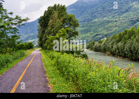 Sentiero della Valtellina, bicycle path along the Adda river iat summer - Stock Photo