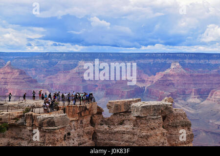 Tourists at Mather Point, Grand Canyon - Stock Photo