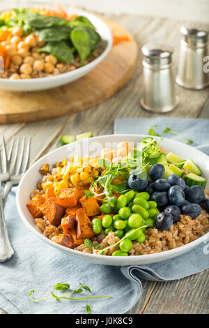 Raw Organic Healthy Buddha Bowl with Farro Spinach Edamame and Cucumber - Stock Photo