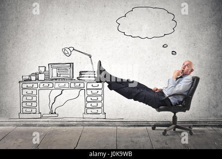 Bald businessman relaxing in drawn office - Stock Photo