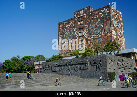 The Central Library mosaic by artist Juan O'Gorman of UNAM university, Mexico City, Mexico - Stock Photo