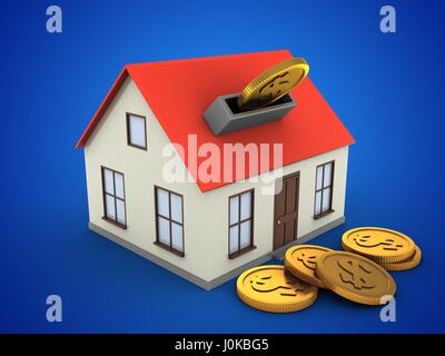 3d illustration of generic house over blue background with coins - Stock Photo