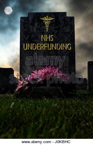 NHS Underfunding written on a headstone, composite image, Dorset England. - Stock Photo