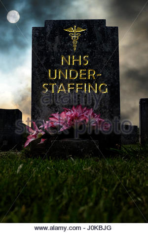NHS Understaffing written on a headstone, composite image, Dorset England. - Stock Photo