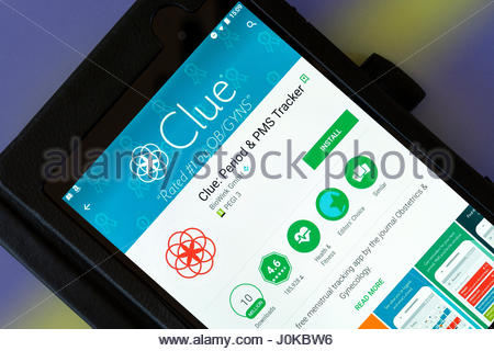 Clue PMS Tracker, app on an android tablet PC Dorset England UK - Stock Photo