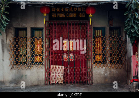 George Town,  Malaysia - March 21, 2016: Facade of the old shophouse building in UNESCO Heritage buffer zone in - Stock Photo