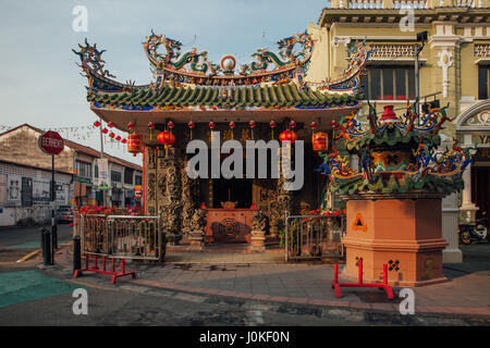 George Town, Malaysia - March 21, 2016: Sunset view of the Choo Chay Keong Temple adjoined to Yap Kongsi clan house, - Stock Photo