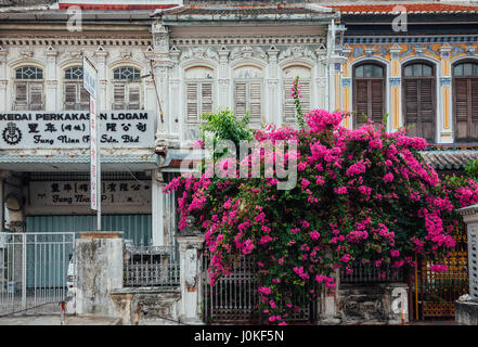George Town,  Malaysia - March 22, 2016: Facade of the old shophouse building in UNESCO Heritage buffer zone in - Stock Photo