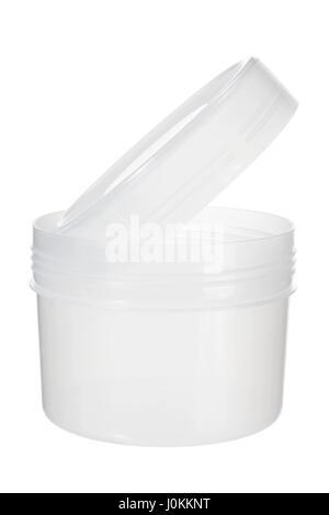 Plastic Jar on White Background - Stock Photo