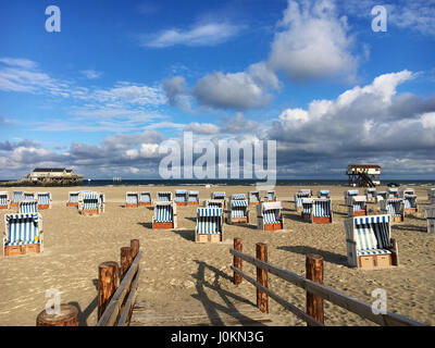 Beach St. Peter-Ording at morning - Stock Photo