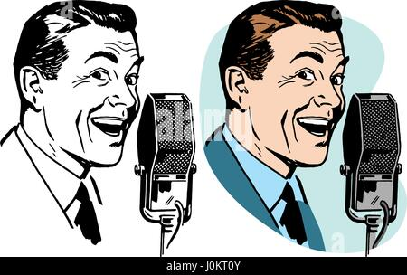 A smiling man speaking into a vintage microphone - Stock Photo