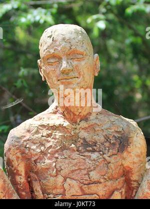 Garden Artwork statue at North Carolina Botanical Gardens Chapel Hill - Stock Photo