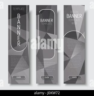 Template vertical web banners with abstract gray background with transparent elements. Vector illustration. Set - Stock Photo