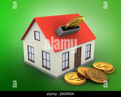 3d illustration of generic house over green background with coins - Stock Photo