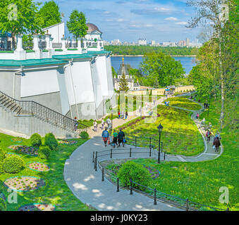 KIEV, UKRAINE - MAY 1, 2016: Kiev Pechersk Lavra becomes very crowded during christian holidays, on May 1, in Kiev - Stock Photo