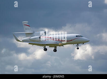 French built Dassault Falcon 900X Business Jet Aircraft arriving at Inverness Dalcross Airport. Highland Region - Stock Photo