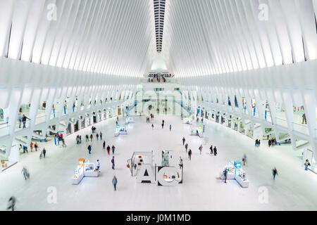 The Oculus World Trade Centre Transportation Hub interior main Mezzanine with commuters and tourists, Manhattan, - Stock Photo