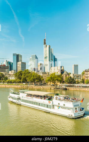 sightseeing boat johann wolfgang von goethe of primus line fleet in front of finacial district skyline - Stock Photo