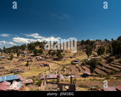 Landscape of the farming terraces on Taquile Island, in Lake Titicaca, Peru. - Stock Photo