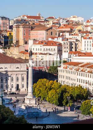 LISBON, PORTUGAL - JANUARY 10, 2017: Column of Pedro IV on Rossio Square (Pedro IV Square) in Lisbon as seen from - Stock Photo