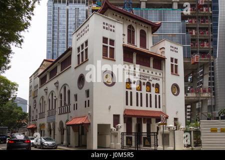 Chinese Methodist Church on Telok Ayer street in Singapore - Stock Photo