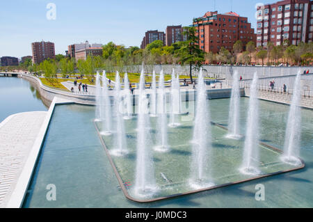 Fountain and pond. Madrid Rio park, Madrid, Spain. - Stock Photo
