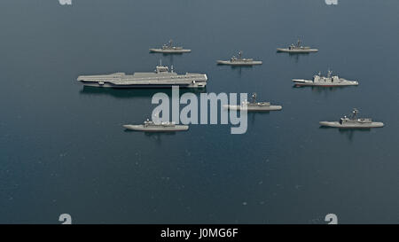 American Aircraft Carrier with destroyers and a cruiser in the Pacific Ocean towards North Korea. 3d rendering - Stock Photo