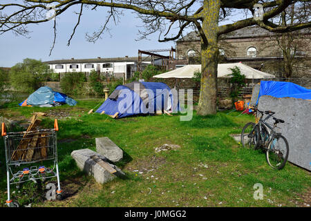 Makeshift housing in tents and tarpaulins as temporary unofficial homeless accommodation Bristol UK - & Makeshift housing in tents and tarpaulins as temporary unofficial ...