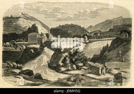 Antique 1854 engraving, 'Mineral Baths at Gastein in Germany.' Bad Gastein (formerly Badgastein) is a spa town in - Stock Photo