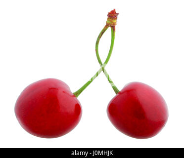 Pair of joined sweet cherries on white background - Stock Photo