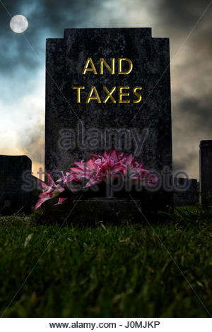And Taxes written on a headstone, composite image, Dorset England. - Stock Photo