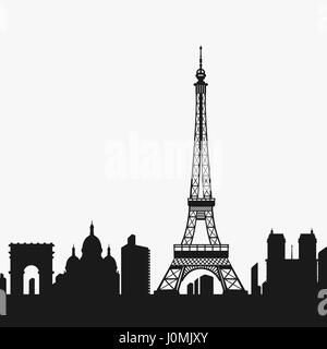 Vector Silhouette of the Eiffel Tower - Stock Photo