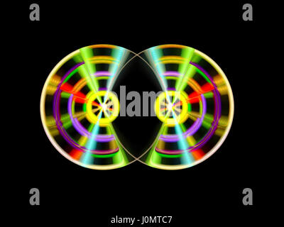 Two colorful turnable DJ discs, computer generated abstract background, 3D rendering - Stock Photo