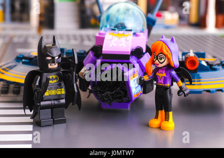 Tambov, Russian Federation - March 04, 2017 Lego DC Super Hero Girls world. Batman minifigure with batarangs and - Stock Photo