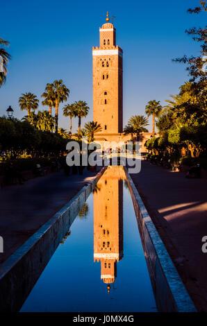 Marrakesh Koutoubia Mosque reflection - Stock Photo