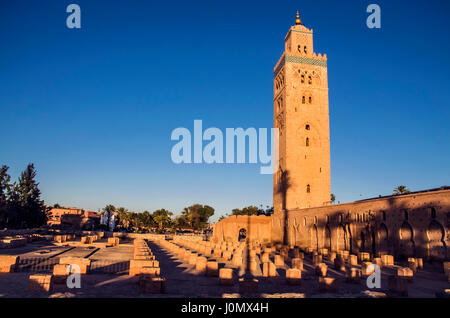 Marrakesh Koutoubia Mosque and original mosque ruins - Stock Photo