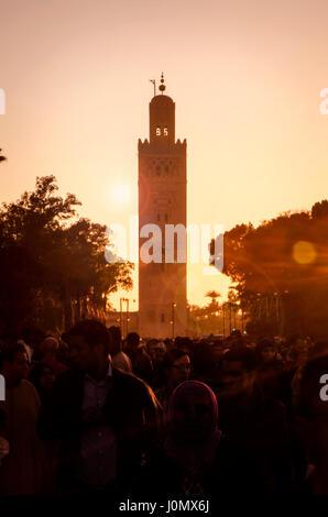 Marrakesh Koutoubia Mosque sun down - Stock Photo